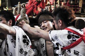 Young men participating in Tenjin Matsuri, Osaka.