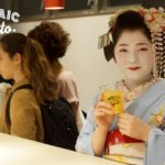 A geisha at the bar of Mosaic Hostel Kyoto