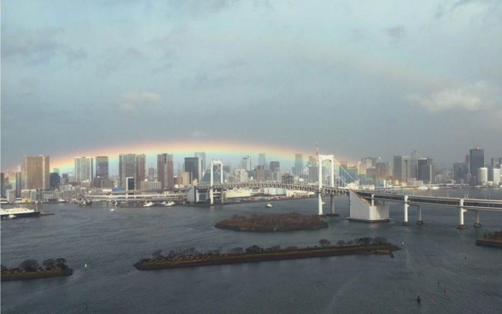 Real rainbow over Rainbow Bridge Tokyo