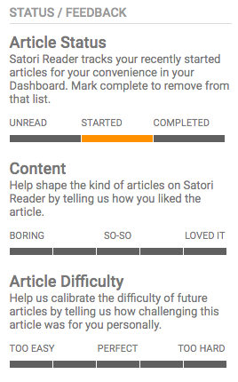 Satori Reader Article sidebar - Feedback options