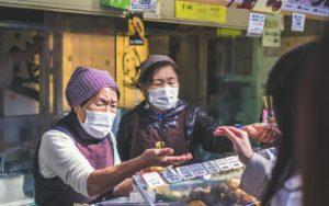 Selling food in a shotengai in Japan