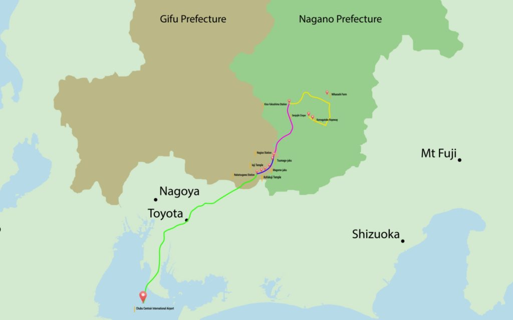 Things to Do in Gifu and Naganao prefectures A map of Gifu and Nagano