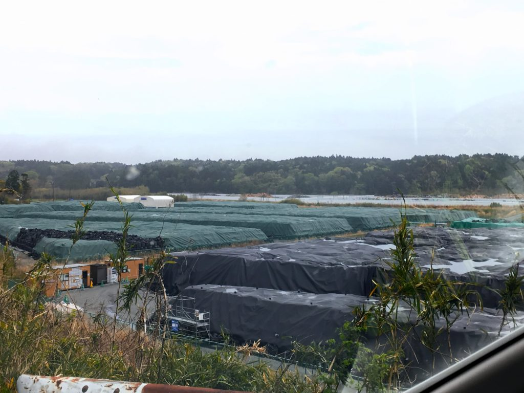 Endless rows of contaminated soil in Fukushima evacuation zone Daiichi power plant