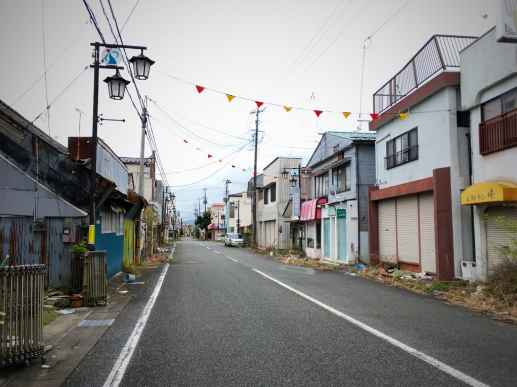 The main street of the evacuated Okuma town in the Fukushima exclusion zone Daiichi Nuclear power plant