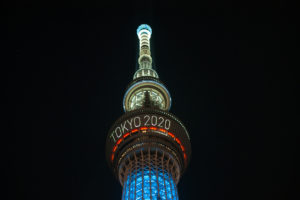 Tokyo Skytree advertises the Tokyo 2020 Olympics which have since been postponed.