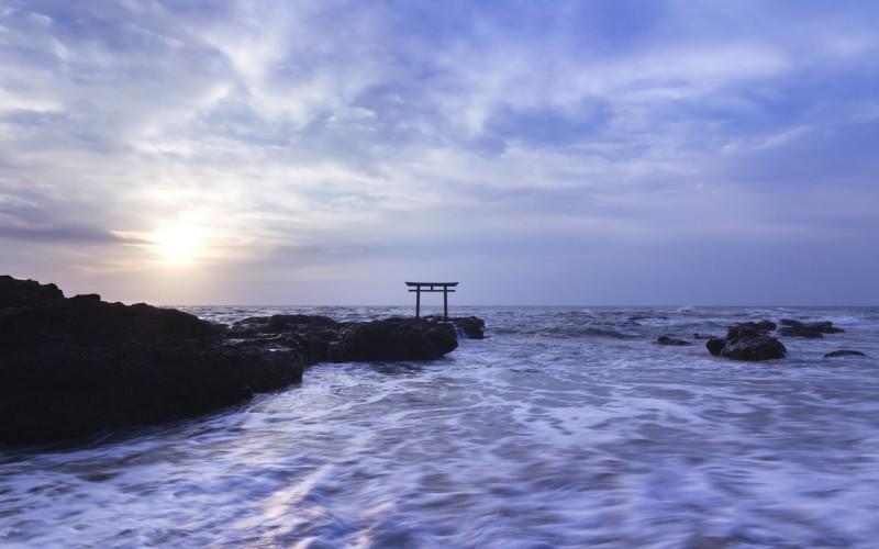 Shrine gateway on Oarai coast at sunrise, Ibaraki, Japan.