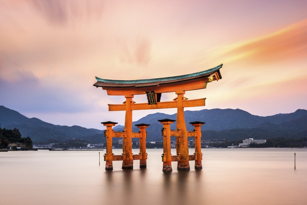 Itsuskushima Shrine Miyajima Gate in Japan