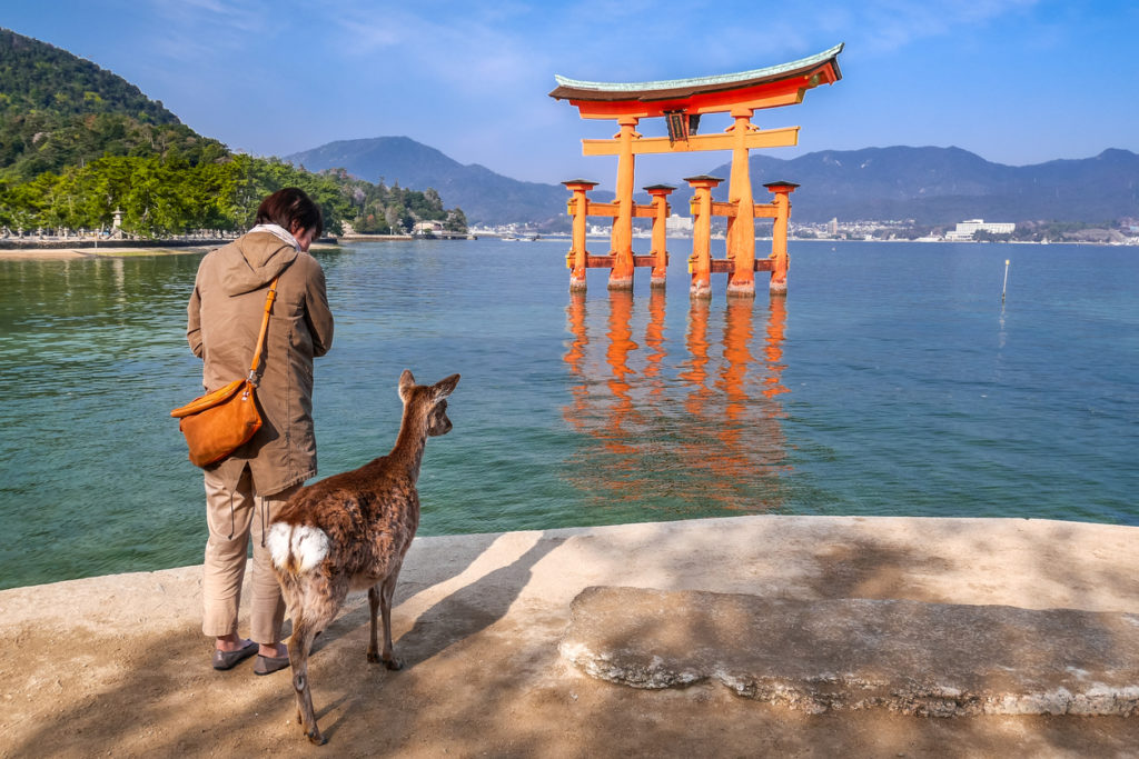 Itsukushima Shrine is floating on the sea in Miyajima, Hiroshima, Japan..