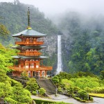 Nachi, Japan at the pagoda of Seigantoji and Nachi no Taki waterfall, Wakayama Prefecture