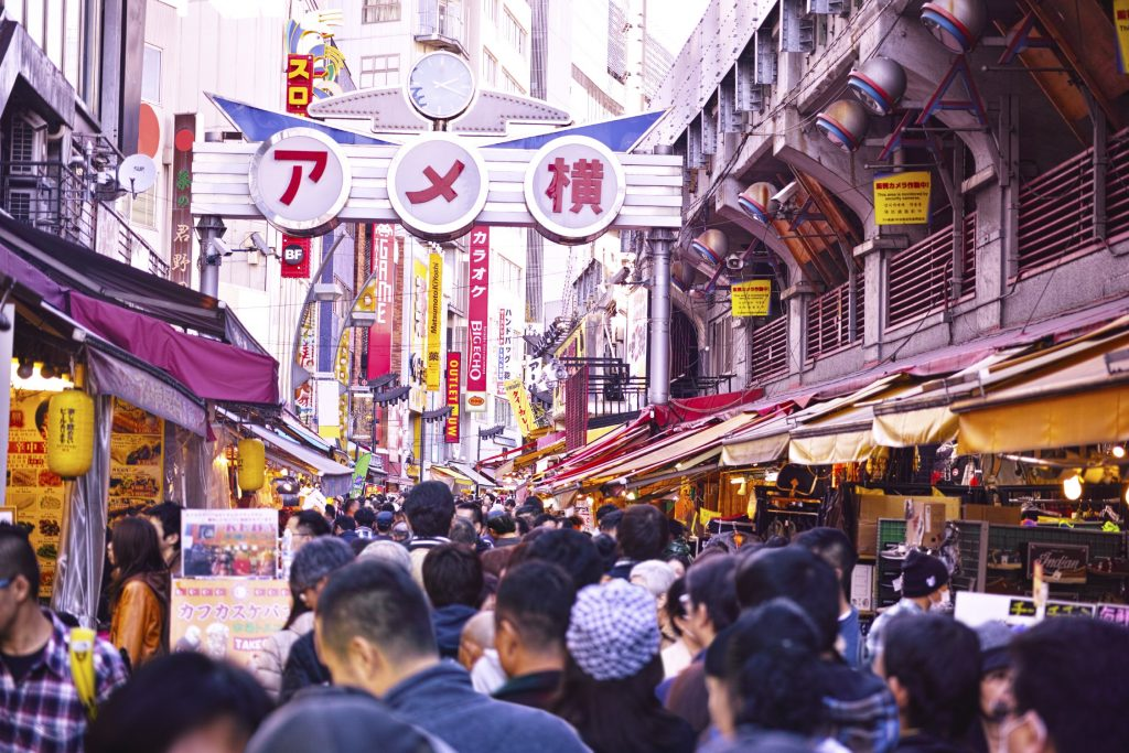 Explore the former black market of the Ameya Yokocho in Ueno.