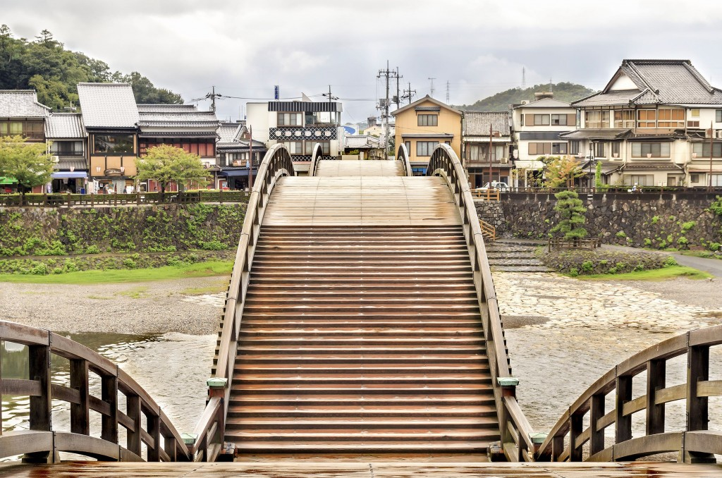 The historic Kintaikyo Bridge in Iwakuni, Yamaguchi prefecture.