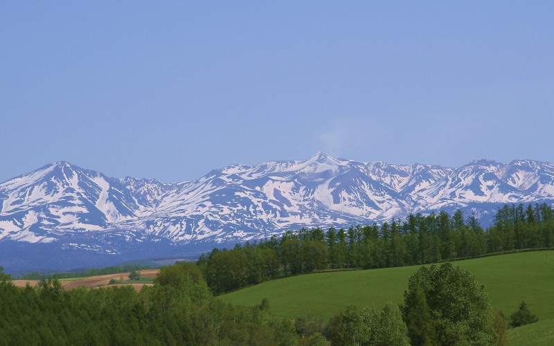 View of Hokkaido with mountains in the distance