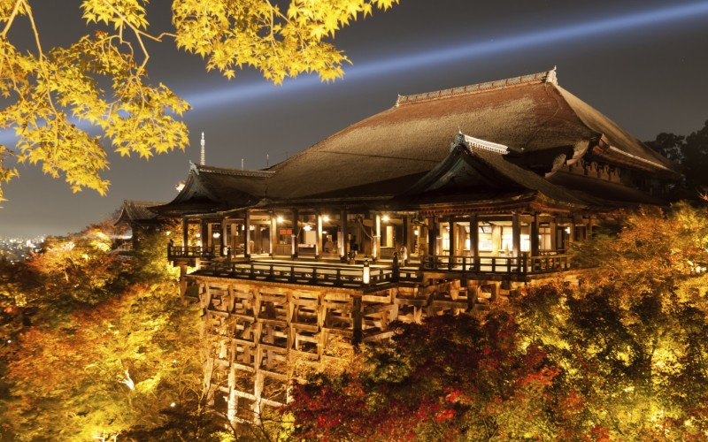 Illuminated autumn leaves at Kiyomizudera temple in Kyoto, Kansai
