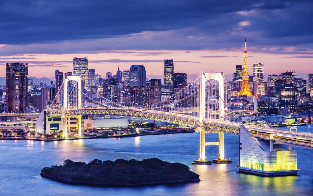 View of Rainbow Bridge and Minato, from Odaiba in Tokyo