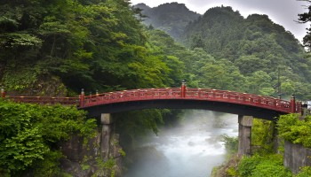 Red sacred bridge Shinkyo in Nikko, Kanto, Japan