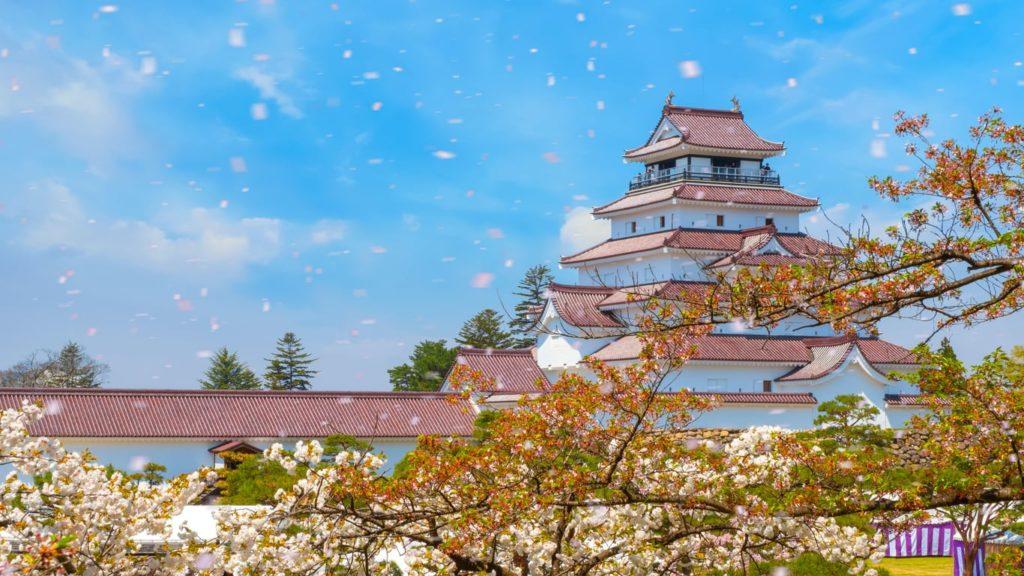 Aizu-Wakamatsu Castle in Fukushima, Japan.
