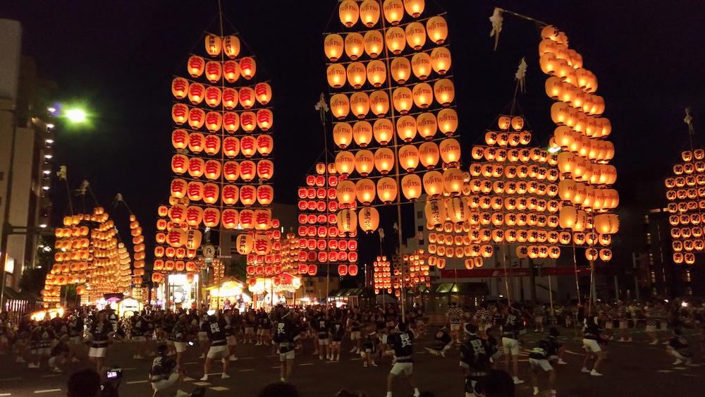 Akita Kanto Matsuri festival in Akita Japan