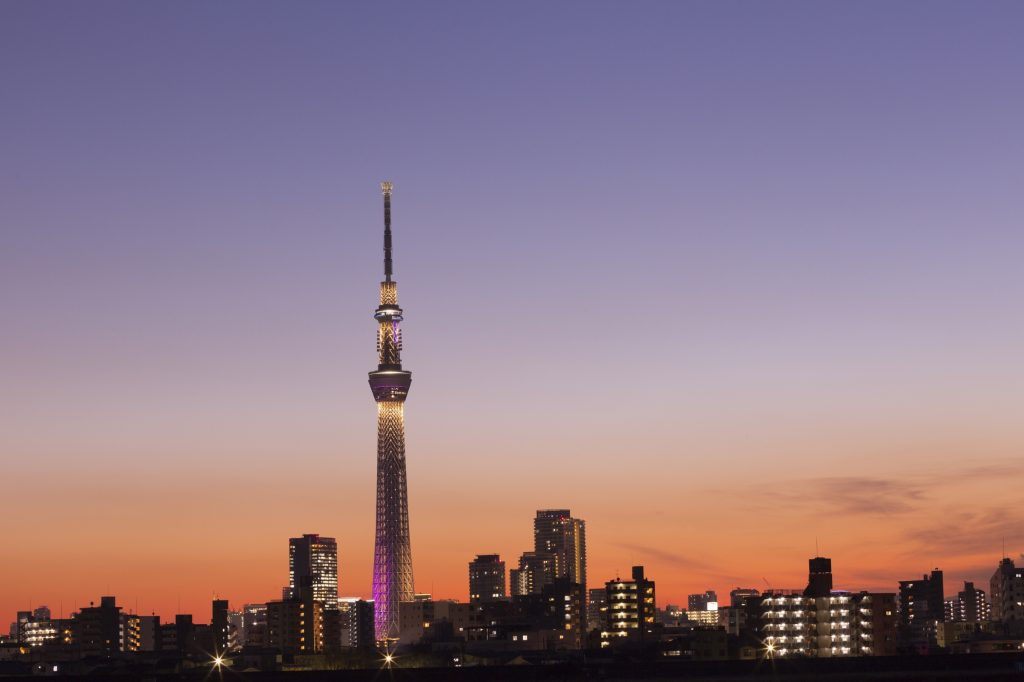 The Skytree is lit up in different colors each night.
