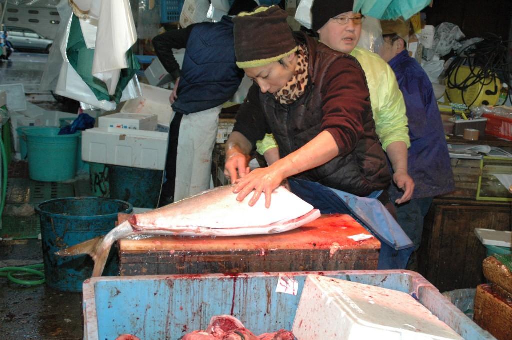 Fishmonger at Tsukiji Market, Tokyo