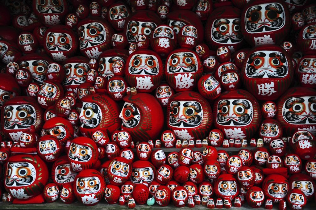 Daruma or red-painted good-luck doll