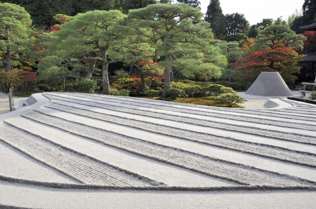 Zen garden with sand tower at Ginkaku-ji Temple, Kyoto.