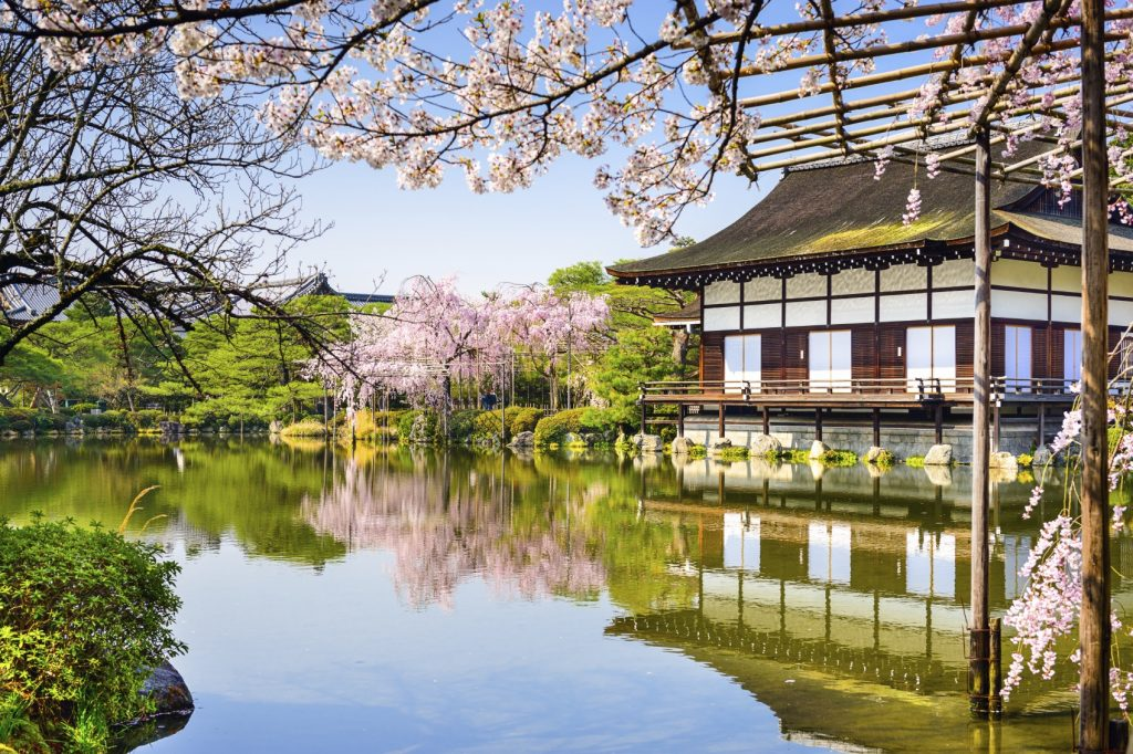 Kyoto, Japan at Heian Shrine's pond in the spring season.