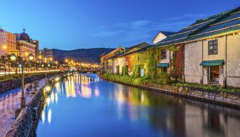 Canals of Otaru, Hokkaido, Japan.