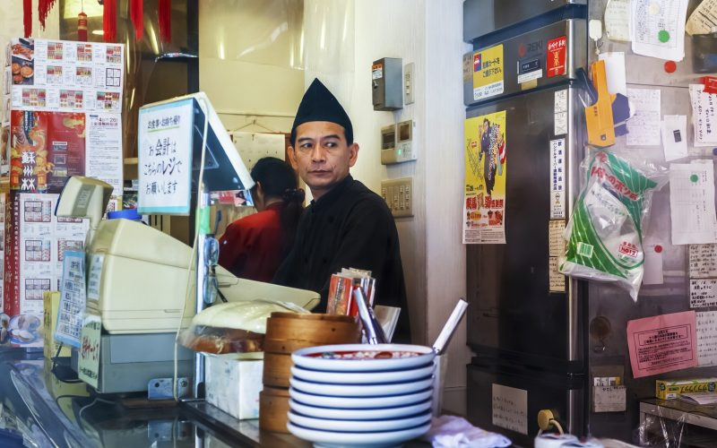 Nagasaki, Japan - November 14 2013: Remen restaurant in Nagasaki, Japan on November 14, 2013. Unidentified ramen shop keeper, specialize in Champon and Saru Udon, in Nagasaki's Chinatown