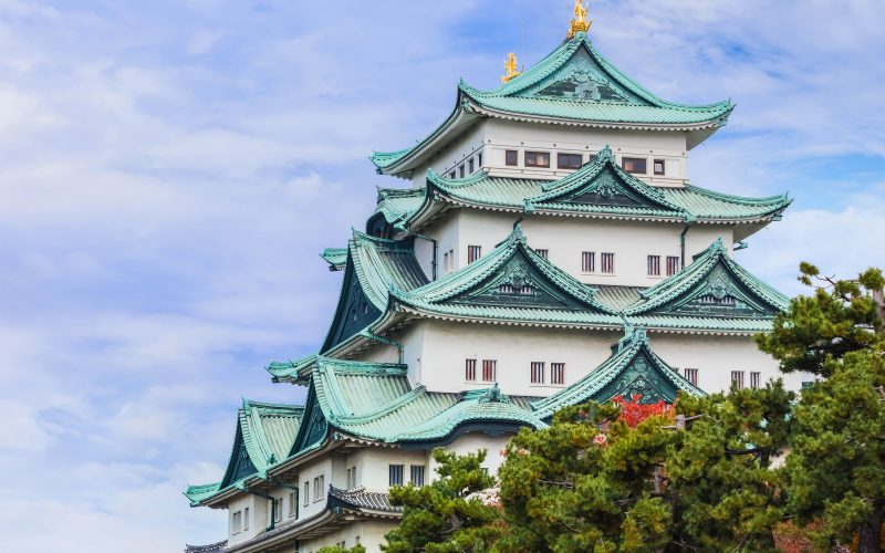 Nagoya, Japan - November 21 2013: Nagoya Castle was built by Ieyasu Tokugawa between 1610 - 1612, burnt down in WWII and reconstructed in 1957