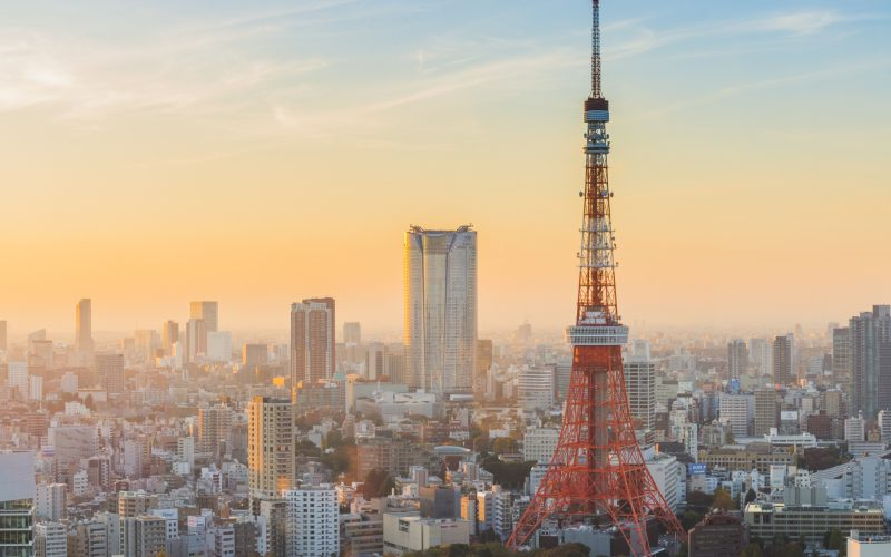 Tokyo Tower at sunset and twilight hours
