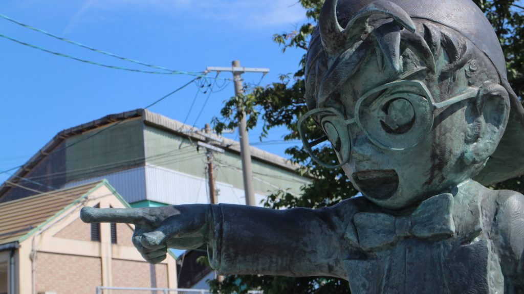 Statue of Conan outside Yura station in Tottori.