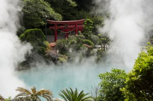 The Sea Hell, one of the eight hells (Jigoku), multi-colored volcanic pool of boiling water in Kannawa district in Beppu, Japan.