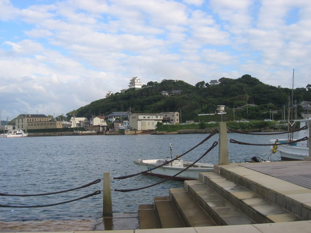 Hirado castle in the distance