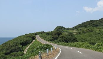 Green road along the Shimabara peninsula.