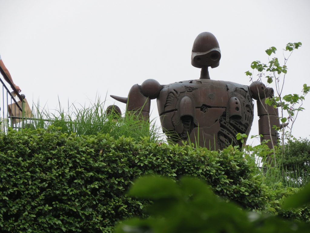 Robot statue on top of Studio Ghibli Museum.