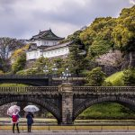 Two ladies in front of the Imperial Palace, Tokyo