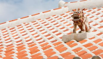 A guardian shisa lion dog, on the roof of an Okinawan home.