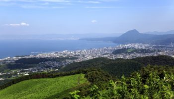 The view of Beppu and Oita city with beautiful Beppu Bay