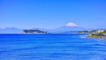 Mt.Fuji and Enoshima View from Inamuragasaki coast of Kamakura.
