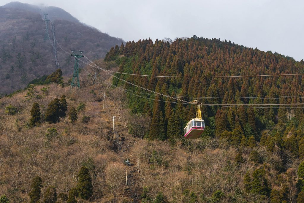 The ropeway leading to Mt Tsurumi.
