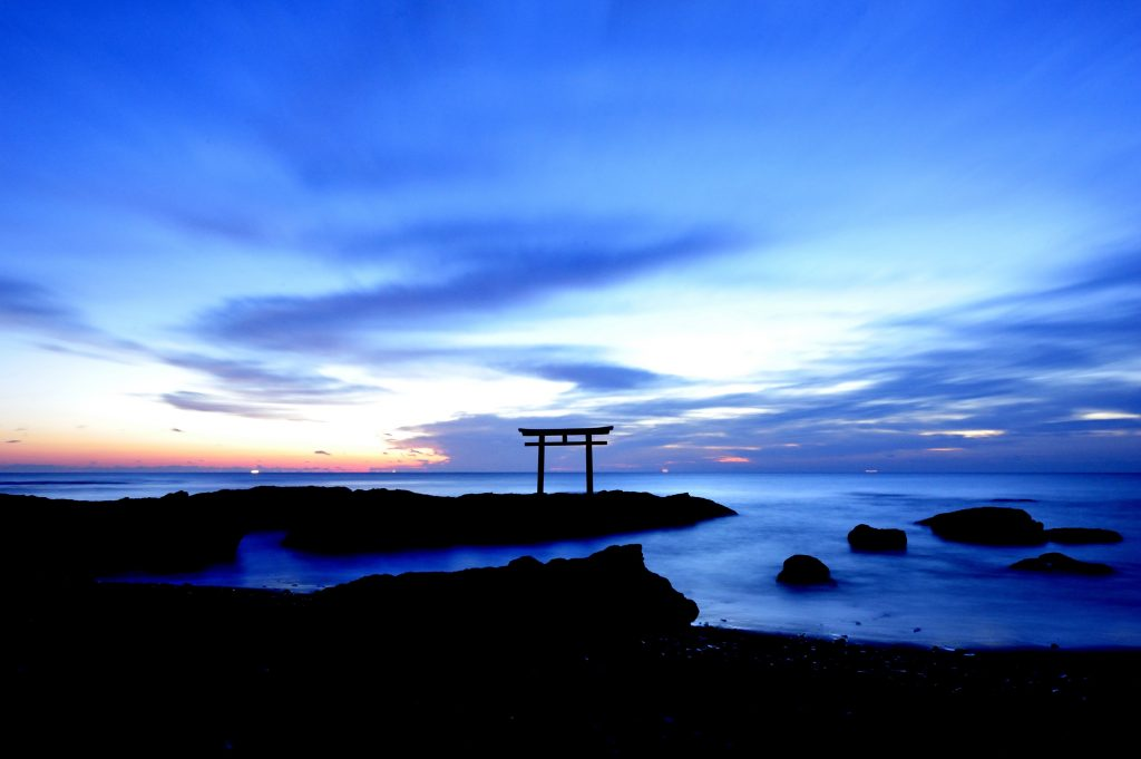 Oarai Isosaki Shrine and Oarai Beach in Ibaraki Prefecture Japan