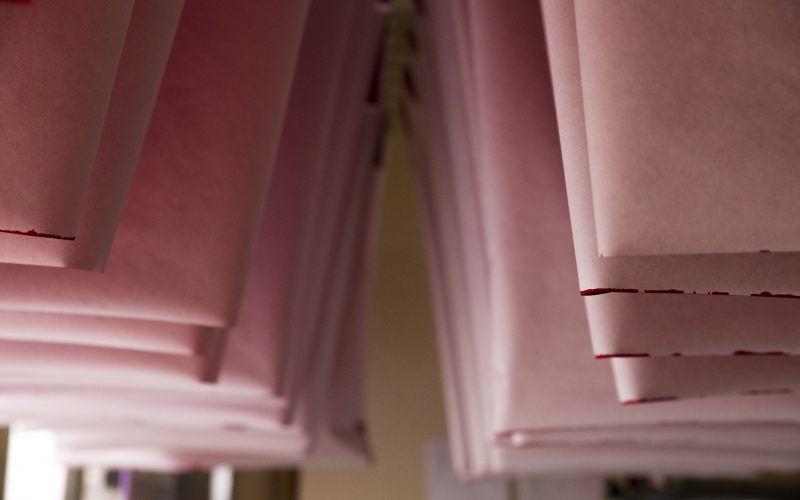 Paper hanging to dry. You can make your own washi at the Saitama Crafts Center in Ogawa.
