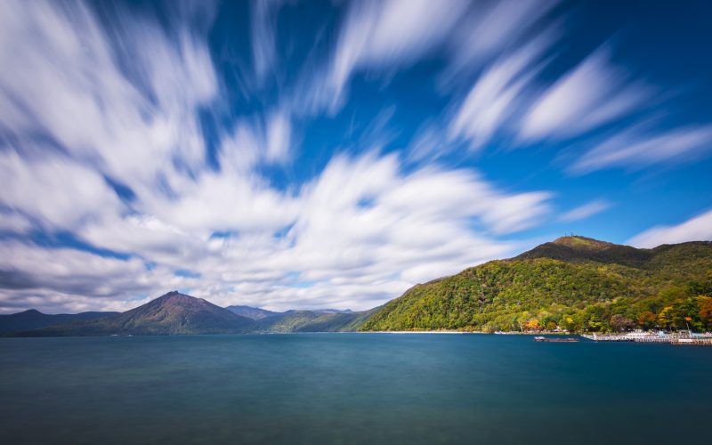 Lake Shikotsu at Shikotsu Toya National Park in Hokkaido, Japan.