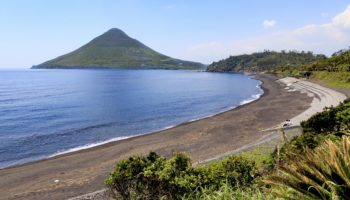 Beach and view of mount Kaimon in Kagoshima, Japan