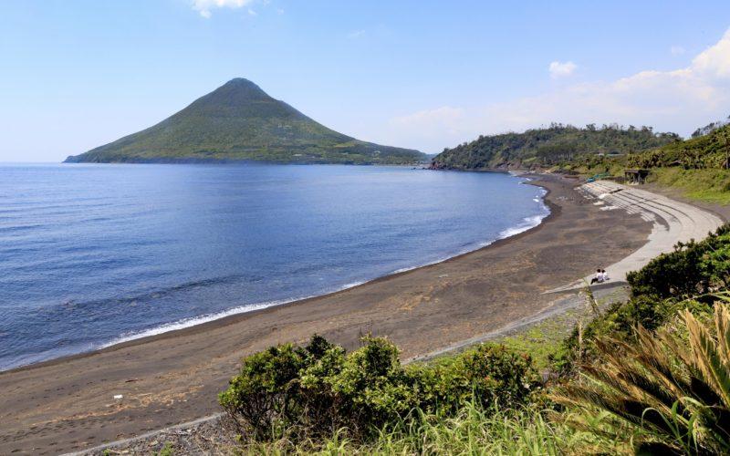 Beach and view of mount Kaimon in Kagoshima, Japan