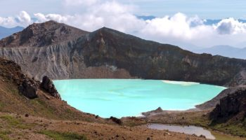 The volcanic lake at Mount Kusatsu-Shirane.