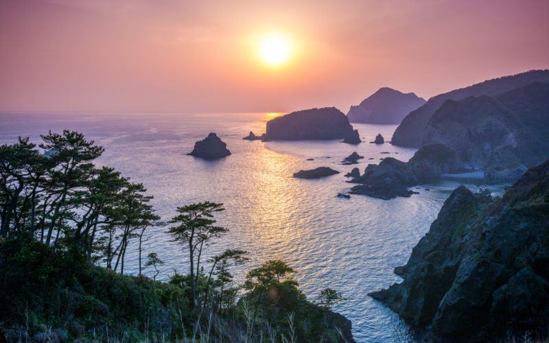 View over the Izu Peninsula in Shizuoka, Japan at night