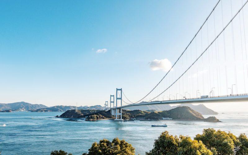 OnomichiKurushima kaikyo bridge in Ehime, Japan.