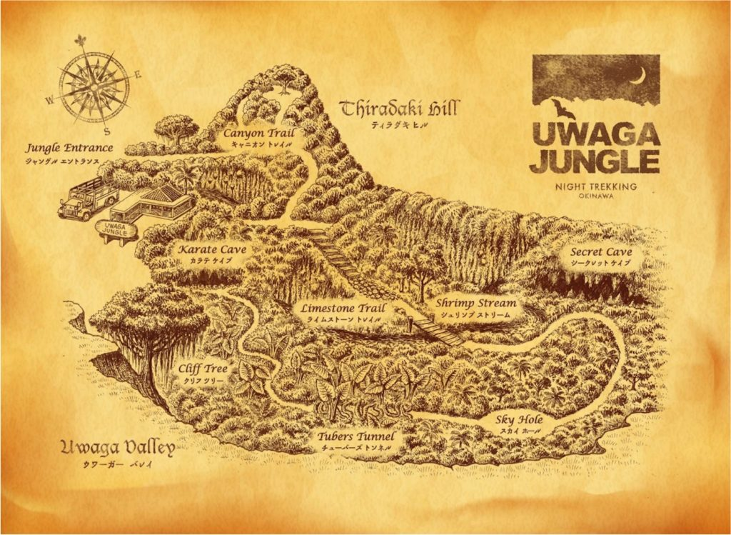 Uwaga Jungle Okinawa World night trekking map