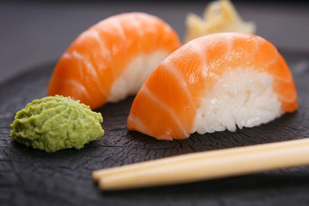 Sushi with fresh wasabi.